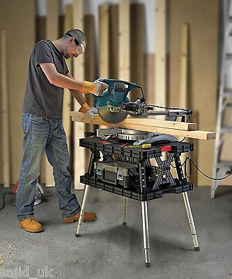 Keter Master Pro Portable Folding Adjustable Work Table Bench with Clamps