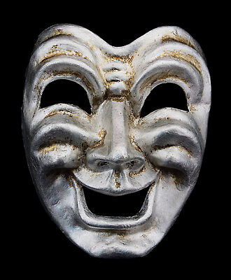 Mask from Venice Face Volto Paper Mache Silver Tragedy Laugh 2266 VG9B
