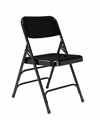 National Public Seating 4 pack Deluxe All Steel Folding Chair Set, Black