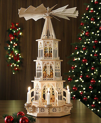 Tilgner- Weihnachtspyramide, 83 cm, Krippenfiguren/Grödnertal, Teelicht+Kerze