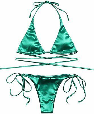 Women s Sexy Metallic Halter Top Swimsuit Tie Side, Green, Size Medium Wrm2 - $13.99