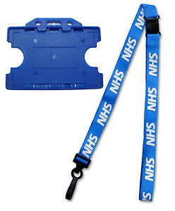 NHS Lanyard Breakaway with Double Sided Blue NHS ID Card Holder Free Postage