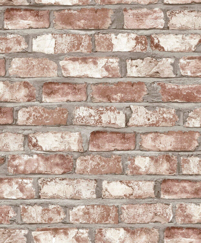 Tapete Vlies Grandeco Exposed Warehouse Klinker 3D Stein Mauer Rot Grau  EW3102 (