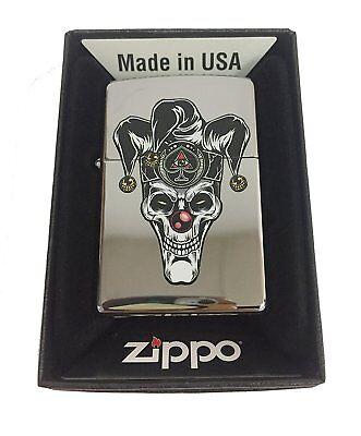 Super Scary Clown (Zippo Custom Lighter Skull Jester Scary Clown Joker Ace of Spades Polish Chrome)
