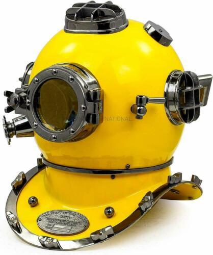 Vintage Yellow Black Diving Helmet Brass Scuba Morse Divers US Navy Mark Divers