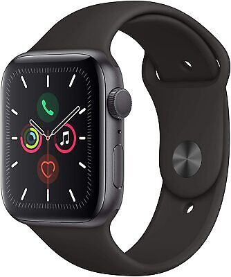 Apple Watch Series 5 (GPS, 44mm) Space Gray Aluminum Case with Black Sport Band
