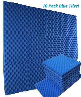 "10pk Premium Acoustic Foam Blue Egg Crate Wall Tile Soundproofing 12""x12""x1.5"""