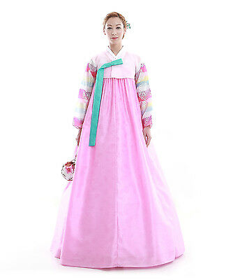 Hanbok Robe Coreenne sur mesure Coupe Traditionnelle Rose Pastel Manches Rayures