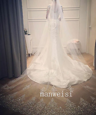 2018 ivory Wedding Veils Bling Rhinestone Cathedral Length Bridal Veil In Stock