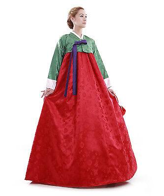 Hanbok Robe Coreenne sur mesure Coupe Traditionnelle Vert Rouge