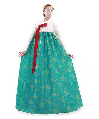 Hanbok Robe Coreenne sur mesure Ceremonie Mariage Blanc Turquois