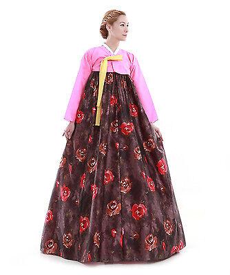 Hanbok Robe Coreenne sur mesure Coupe Traditionnelle imitiation soie Noir