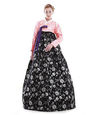 Hanbok Robe Coreenne sur mesure Coupe Moderne Fleurs de Pivoine Noir Rose