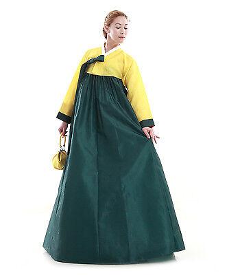 Hanbok Robe Coreenne sur mesure Coupe Longue Vert Jaune