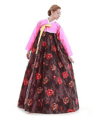 Hanbok Robe Coreenne sur mesure Coupe Longue Ceremonie Rose Marron