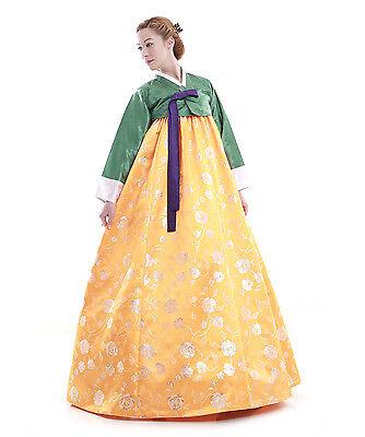 Hanbok Robe Coreenne sur mesure Ceremonie Mariage Vert Jaune Pivoine Argent