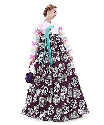 Hanbok Robe Coreenne sur mesure Symboles Floraux Argenté Mauve Rose