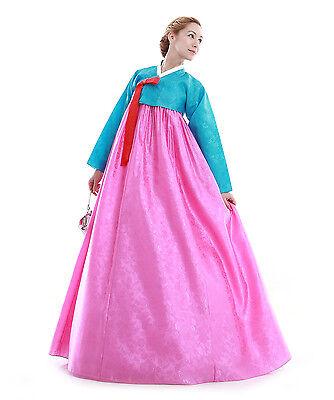 Hanbok Robe Coreenne sur mesure Sobre Clair Elegance Bleu Rose Broderie