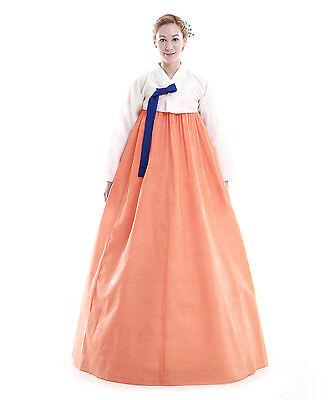 Hanbok Robe Coreenne sur mesure Coupe Simple Orange Blanc