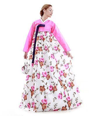 Hanbok Robe Coreenne sur mesure Couleurs Printanieres Rose Blanc
