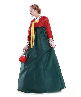 Hanbok Robe Coreenne sur mesure Coupe Longue Rouge Vert Manches à fleurs