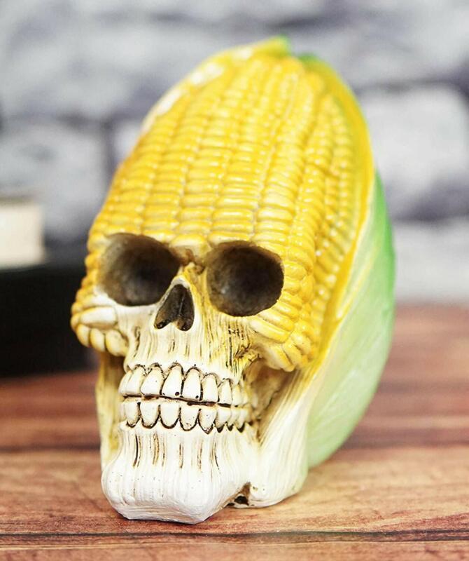 "Ebros Vegetable Produce Maize Corn Skull Statue 6.25"" Long Resin Figurine"