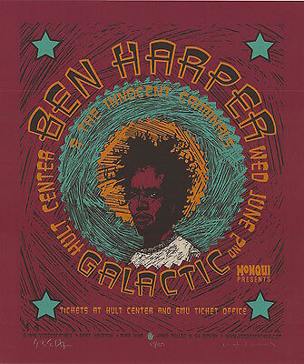 Ben Harper 1999 Hult Center Eugene SIGNED Gary Houston Poster 59/160