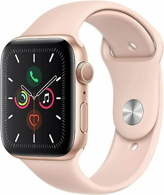 Apple iWatch Series 5 (GPS, 44mm) - Gold Aluminum Case with Pink Sport MWVE2LL/A