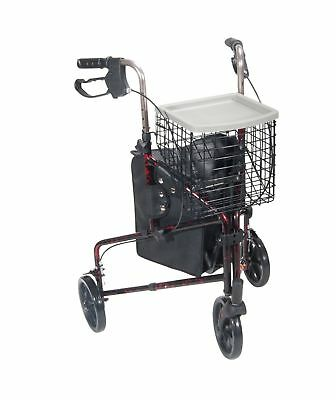 3 Wheel Rollator, Red, Aluminum, 7.5 Inch Casters, Loop Brake, Drive 10289RD
