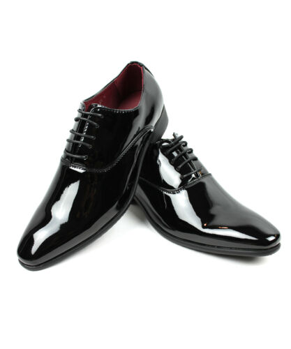 NEW Men Dress Tuxedo Shoes Black Round Toe Patent Shiny Lace Up Alberto Fellini