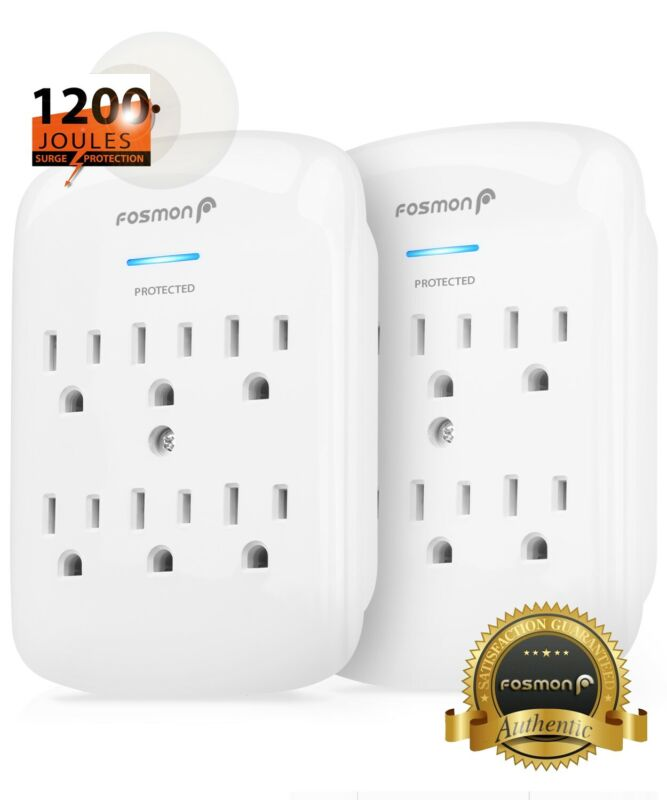 Fosmon 2x 6 Outlet Surge Protector Multi Plug Wall Adapter Tap 1200J[ETL Listed]