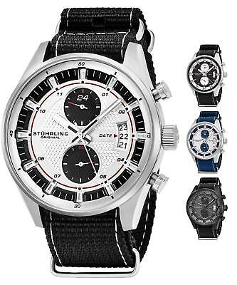 Stuhrling 845 Men's Chronograph Dual Time Nylon Strap TruTime Racer Sport Watch - Nylon Strap Clip Watch