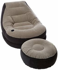 Blow Up Chair w Footrest Inflatable Ottoman Recliner Couch Bed Sofa Mattress Up