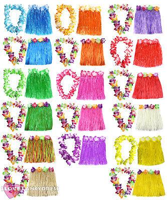 SHORT 40CM HAWAIIAN HULA SKIRT AND LEI SET LADIES LUAU FANCY DRESS COSTUME](Hula Skirts And Leis)