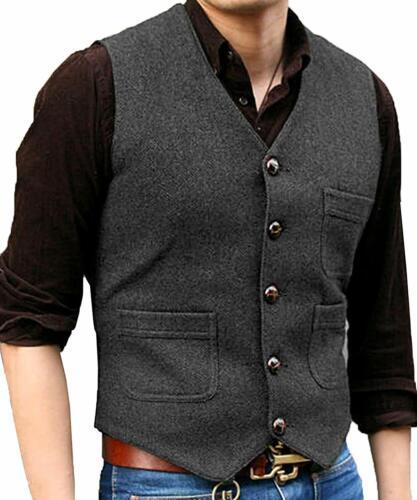 Neu Herren Anzug V-Ausschnitt Tweed Wolle Herringbone Casual Weste Bräutigam 3XL