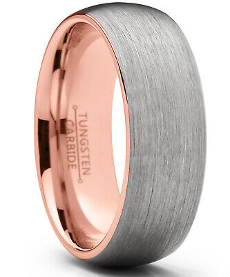 Tungsten Carbide Wedding Band Ring, 8mm Dome Brushed Rose Tone Band
