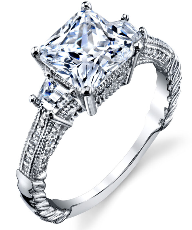 Sterling Silver 925 Vintage 3ct Princess-cut Cubic Zirconia Engagement Ring