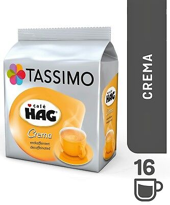 1 x Pack Tassimo Cafe HAG Crema Decaffeinated T Discs Pods - 16 Decaf Drinks