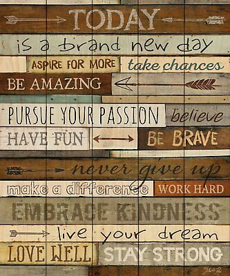 Today is a Brand New Day Inspirational Phrases 21 x 18 Wood Pallet Wall Plaque