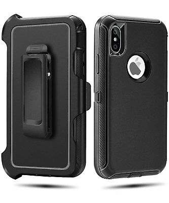 Case Cover For iPhone X  iPhone XS w/(Clip fits Otterbox  Defender case ) Black