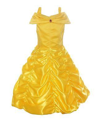 Girls Belle Dress (Princess Belle Dress Off Shoulder Layered Ruffle Costume Dress for Little)