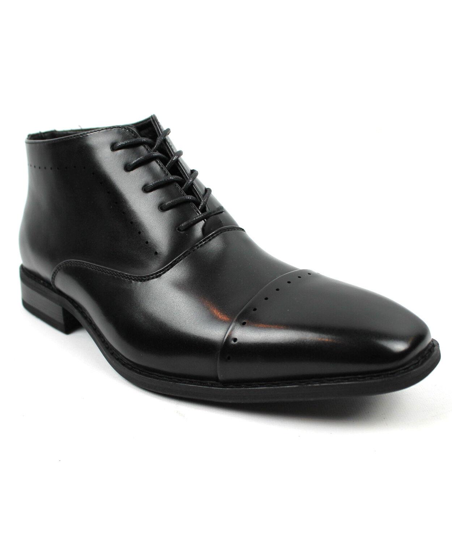 Men's Dress Ankle Boots Lace Up Black Detailed Cap Toe  PARRAZO Gravity 02