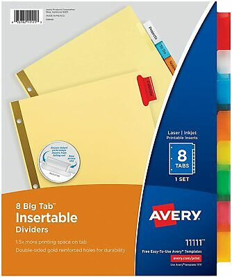Avery 8-tab Binder Dividers Insertable Multicolor Big Sturdy Reinforced - 1 Set