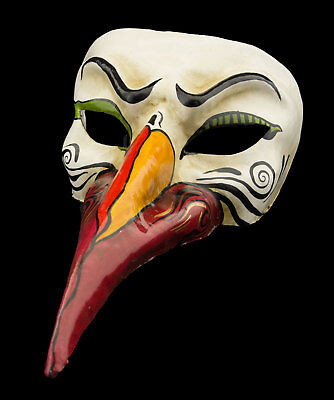 Mask from Venice Nasone Long Nose IN Paper Mache White Red High Range 22337 VG20