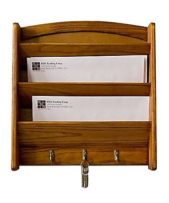 Letter Holder Key Hooks Rack Mail Storage Wall Mount Letters Organizer Pine Wood