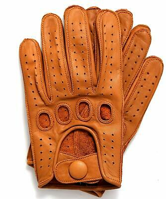 Riparo Men's Reverse Stitched Leather Driving Motorcycle Cosplay Gloves - Cognac Leather Reversible Gloves