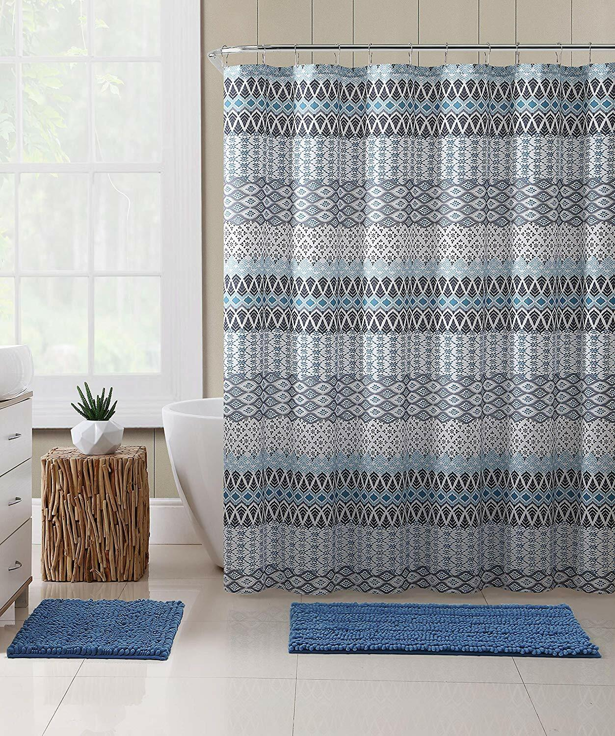Vcny Home Teal Blue Gray Beige Fabric Shower Curtain Floral Geometric Patterned
