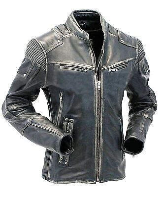 MENS UNION JACK DISTRESSED BIKER MOTORCYCLE REAL LEATHER JACKET@@FREE SHIPPING@@