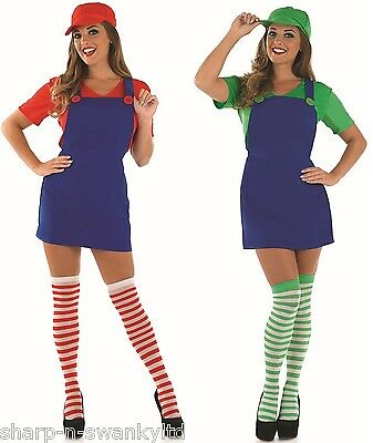 Couples Ladies Mario AND Luigi Plumber 1980s 1990s Fancy Dress Costumes Outfits