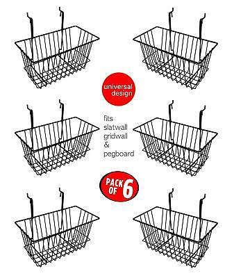 Only Hangers Slatwall Gridwall Basket 12 Long X 6 Deep X 6 High Black 6pk